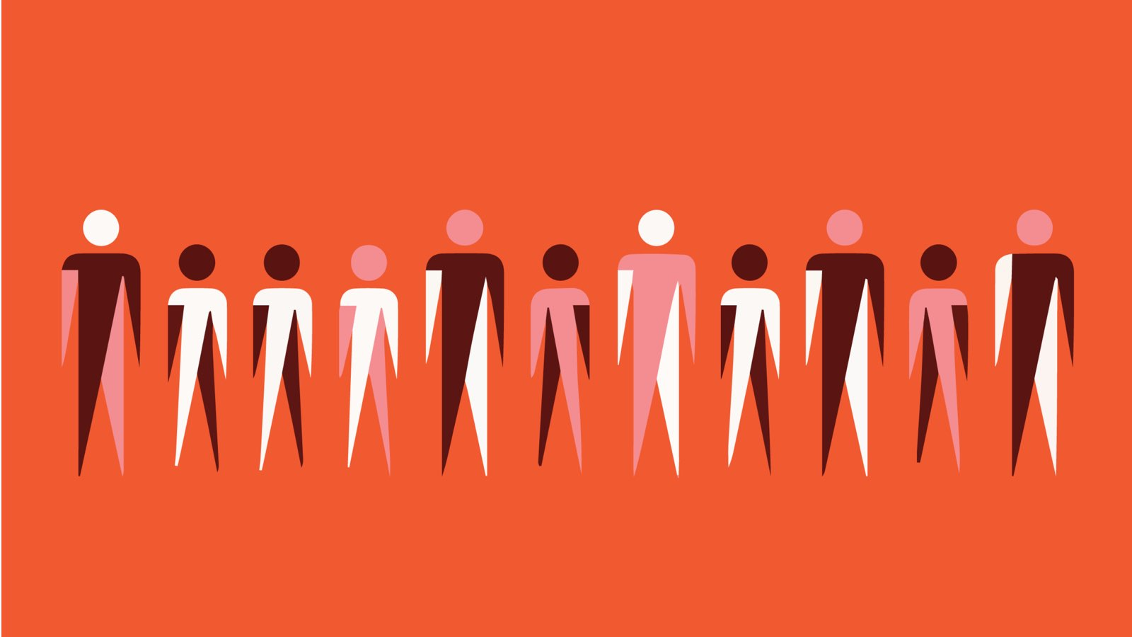 A red banner graphic with people standing in a line
