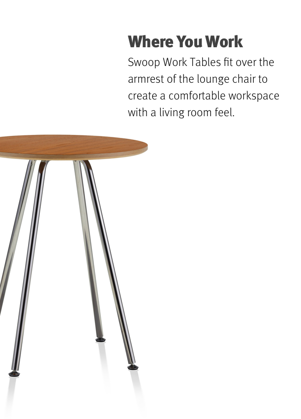Where You Work Swoop Work Tables fit over the armrest of the lounge chair to create a comfortable workspace with a living room feel.