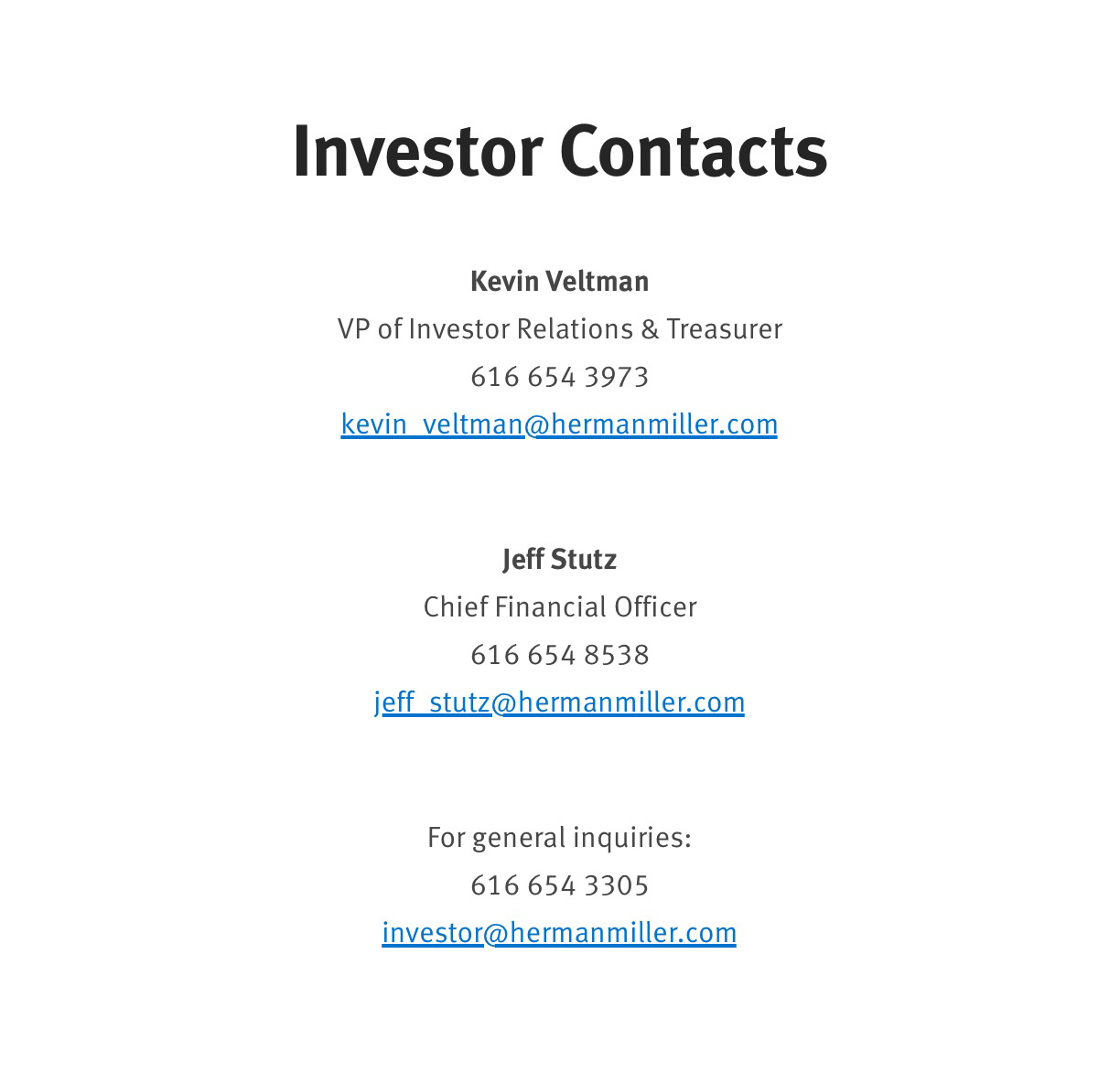 Investor Contacts 